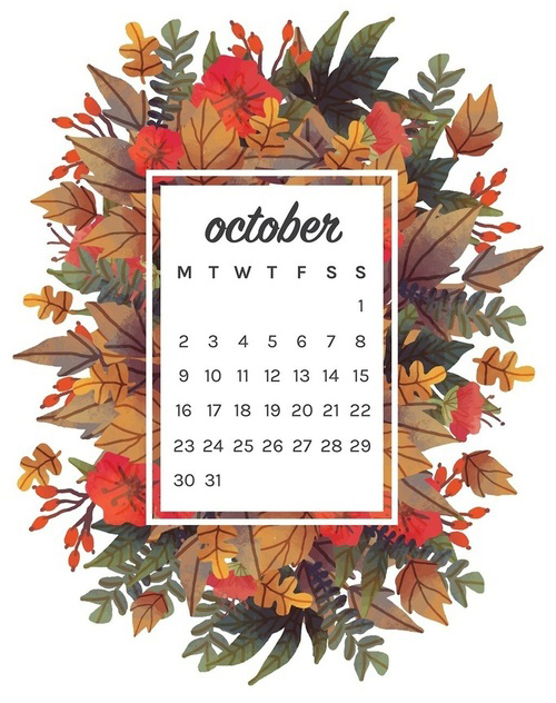 a fall themed October calendar